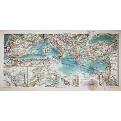 LANDER DES MITTELMEERS ANTIQUE MAP MEDITERRANEAN MEYERS 1856