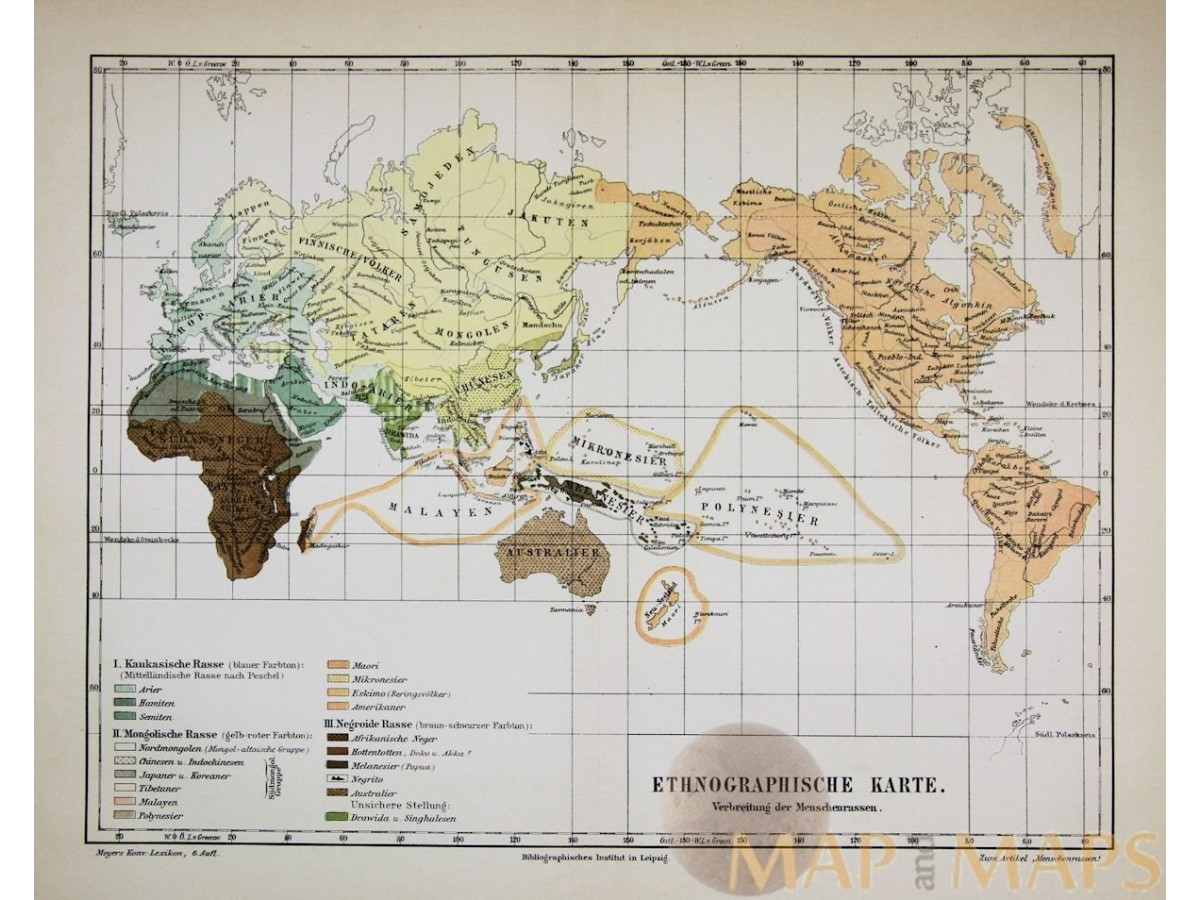 Antique old ethnographic world map 1905 mapandmaps ethnographic world map antique map ethnographische karte meyers 1856 loading zoom gumiabroncs Gallery