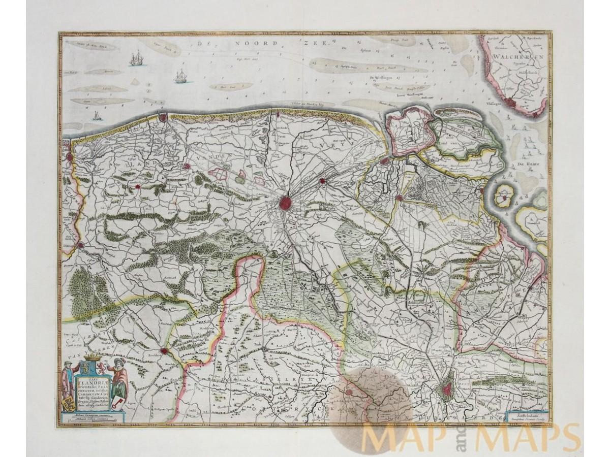 Pars Flandriae Orientalis Old Map Belgium Jansssonius MM - Pars map