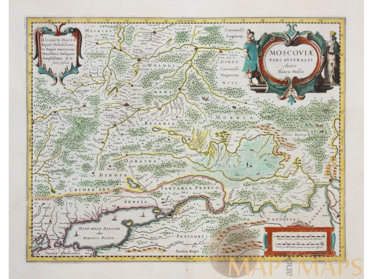 MOSCOVIAE PARS AUSTRALIS Old Map Southern Russia JanssoniusHondius - Pars map