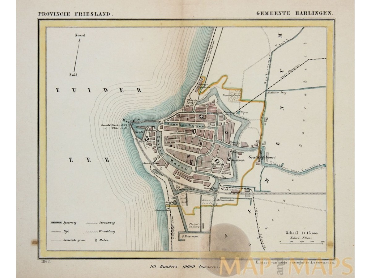 Harlingen Friesland Old map Kuyper Mapandmapscom