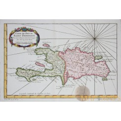 Carte de L'Isle de Saint Domingue Hispaniola Bellin 1754