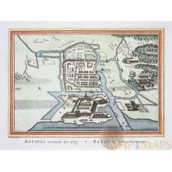 Siege of Batavia 1628 old print Jakarta Batavia assiege by Bellin 1752