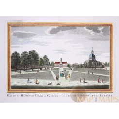 and colored engraving of the Town Hall and church in Batavia (Jakarta Indonesia)