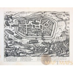 Siege of Lochem Old etching Lochum by Hogenberg 1573