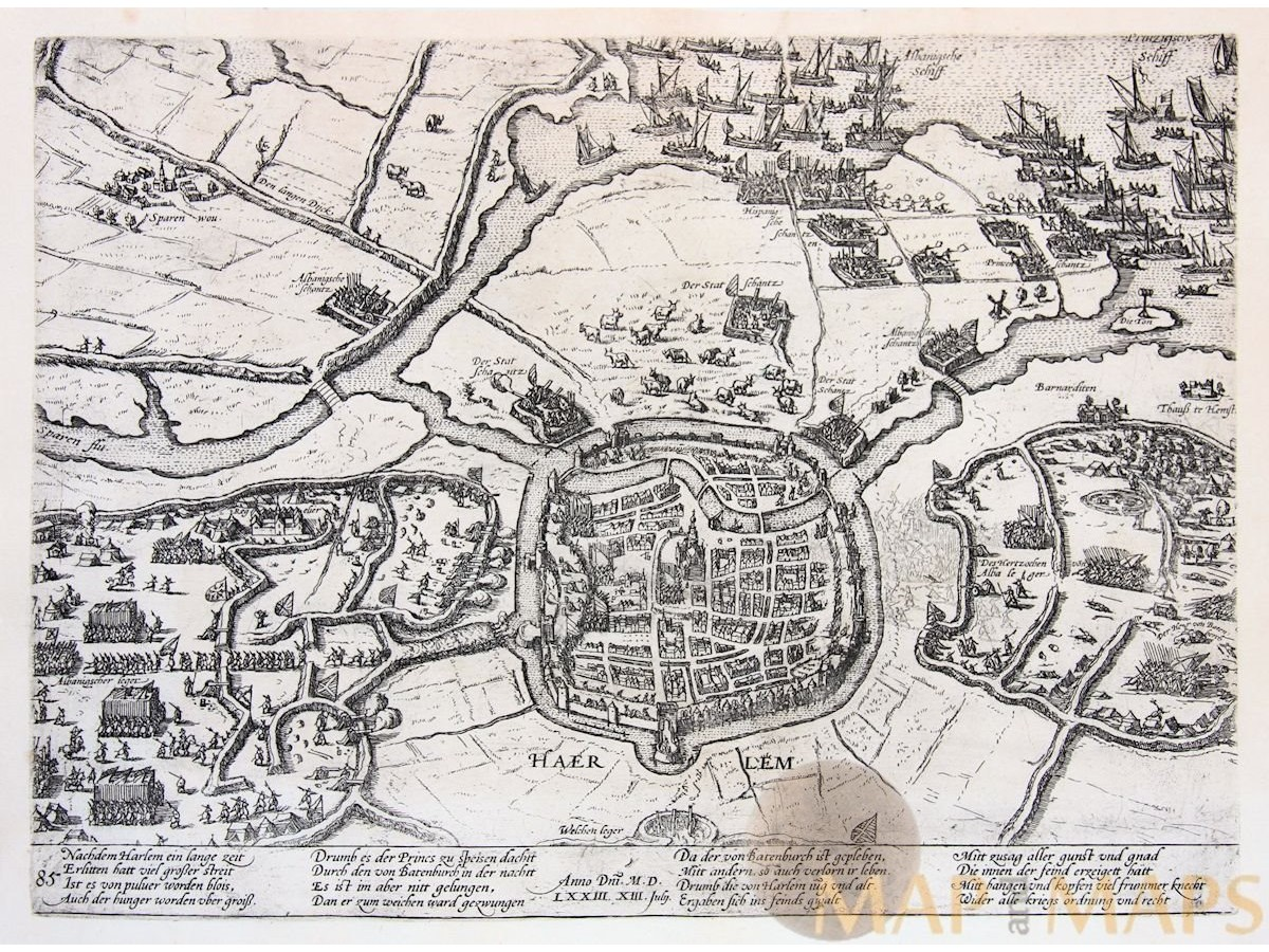 Siege of Haerlem Antique print Holland - Mapandmaps.com