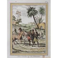 HOTTENTOTTEN Old engraving Threshing Hottentots South Africa BELLIN 1757
