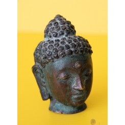 Shakyamuni Buddha Head Bronze and Pigment Asian Art Tibet 19th Century