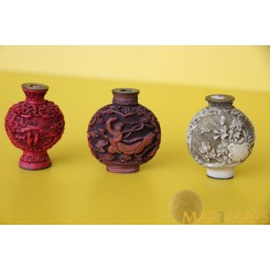 3 Old Chinese Carving Snuff Bottles Collectible Asian Art 20th Century