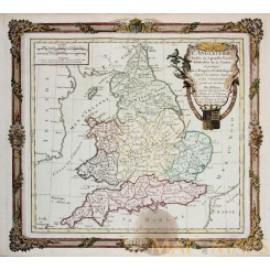 England L'Angleterre Antique map Brian De La Tour 1766
