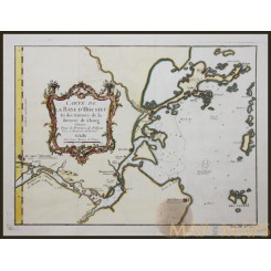 Carte de la Baye d'Hocsieu Antique original map of China by Bellin 1754