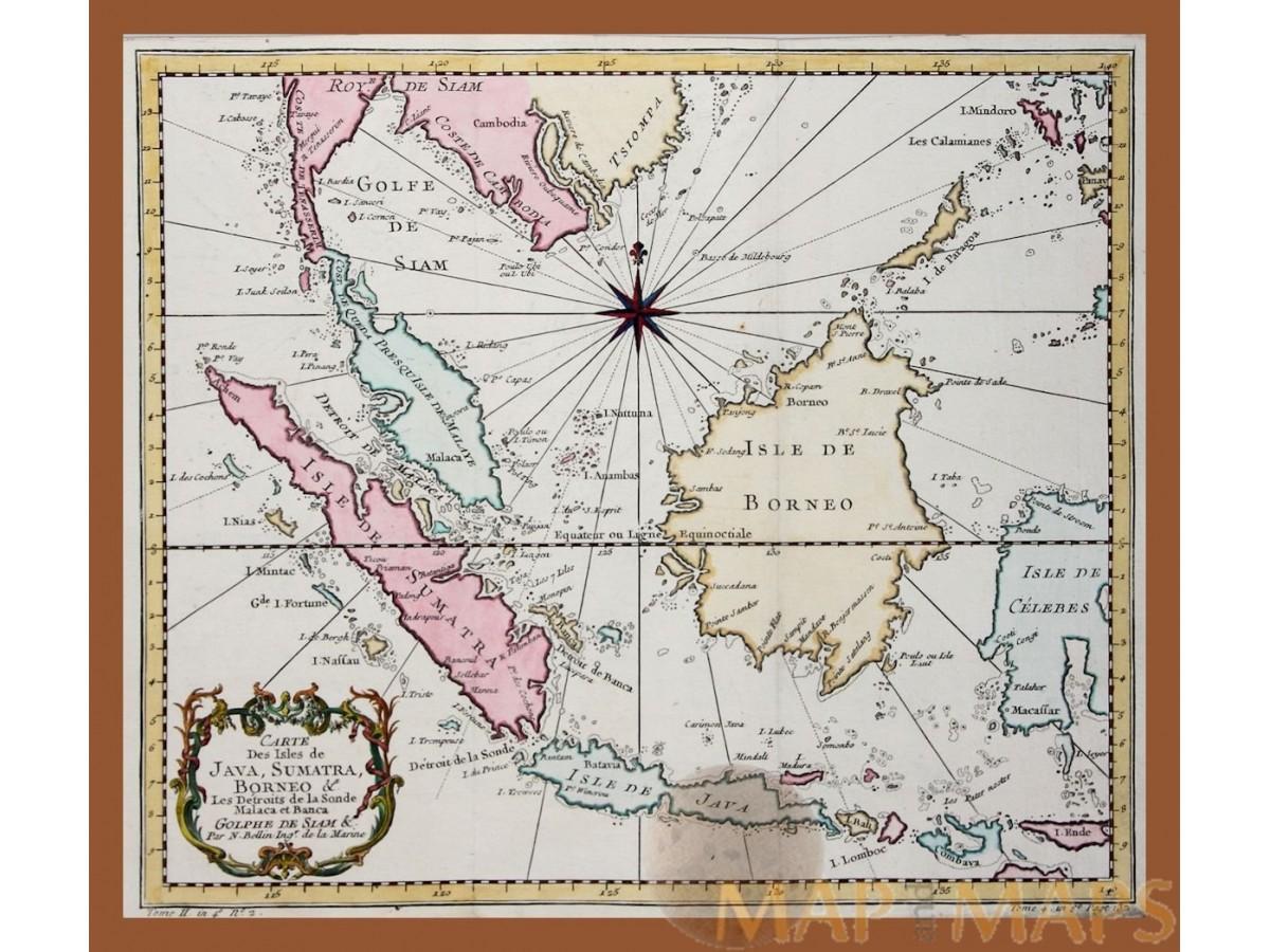 Carte des isles de java sumatra indonesia map bellin 1758 old map indonesia golf de siam carte des isles de java sumatra bellin 1758 loading zoom gumiabroncs Images