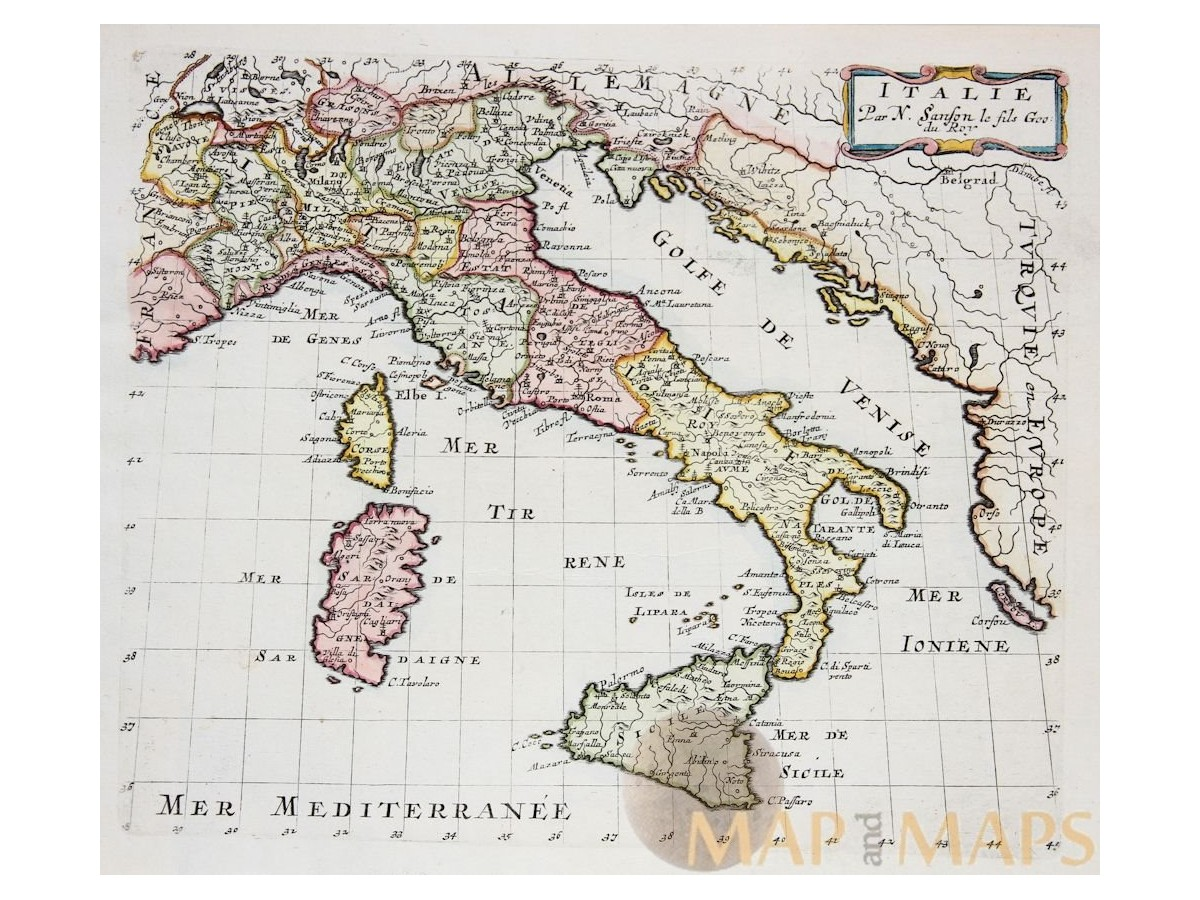 Italy antique map and maps from the past mapandmaps italy habsburg dynasty kingdoms naples sicily old map sanson mercator 1683 1734 gumiabroncs Choice Image