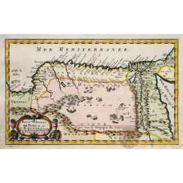 AFRICA BARCA DESSERT EGYPT LIBIA ANTIQUE MAP BY SANSON 1662.