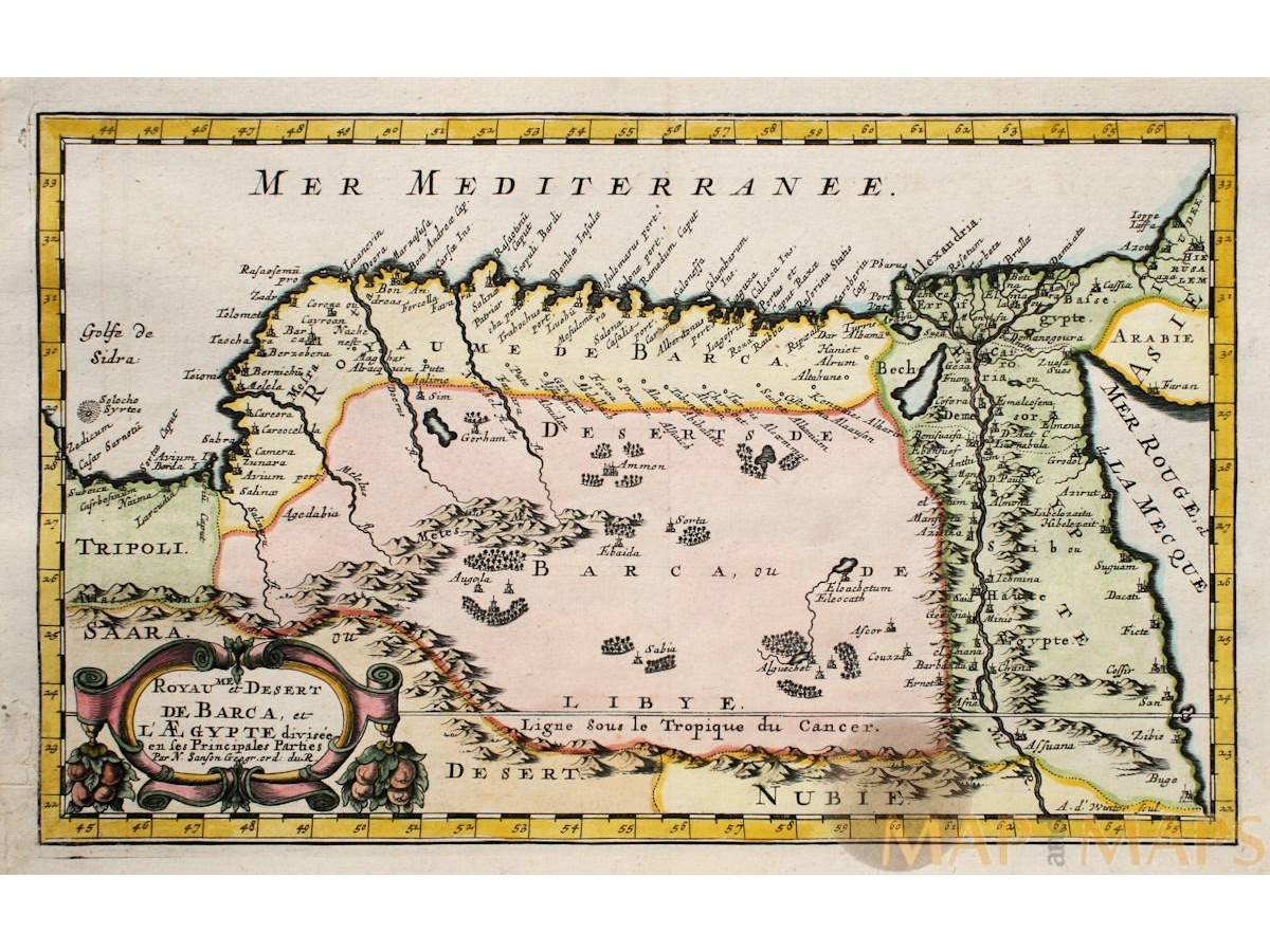 Royaume Et Desert Africa Barbaria Africa Map Sanson MM - Vintage map of egypt