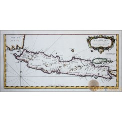 OLD MAP ISLE OF JAVA  INDONESIA COPPER ENGRAVING DE L'ISLE DE JAVA BELLIN 1750