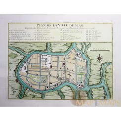 ANTIQUE MAP THAILAND PLAN DE LA VILLE DE SIAM BY BELLIN 1752
