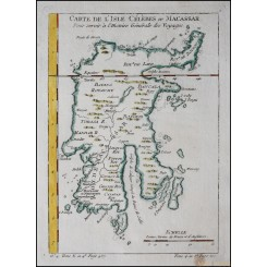 Antique map Salawesi Indonesia Carte de L'Isle Celebes ou Macassar Bellin 1754