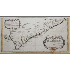 AFRICA KINGDOMS GOLD COAST SUITE DE LA COSTE DE GUINEE ANTIQUE MAP BELLIN 1753