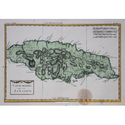 JAMAICA WEST INDIES OLD MAP CARTE DE L'ISLE DE LA JAMAIQUE BONNE 1774