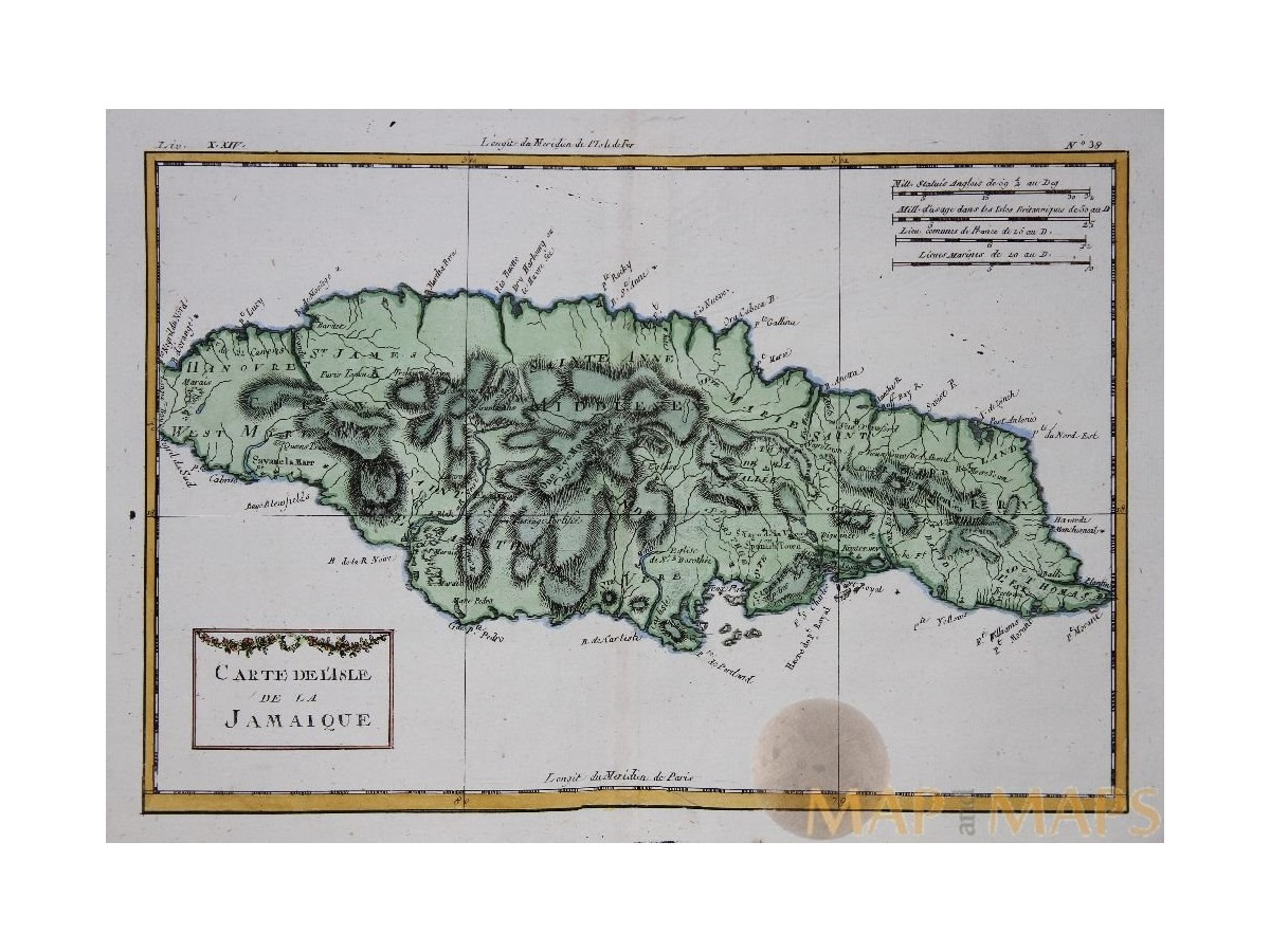 Jamaica map Carte De L\'isle De La Jamaique Bonne | M&M