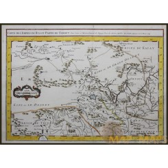 EMPIRE HYA AND TANGUT, GREAT WALL OF CHINA  ANTIQUE MAP BY BELLIN 1749