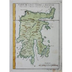 SULAWESI INDONESIA ANTIQUE MAP CARTE DE L'ISLE CELEBES OU MACASSAR BELLIN 1754