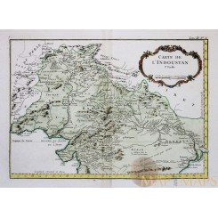 Carte de L'Indoustan Ie Feuille | India Hindustan Bellin 1764