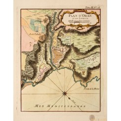ANTIQUE MAP PLAN D'ORAN MEDITERRANEAN ALGERIA ORAN OLD PLAN BY BELLIN 1764