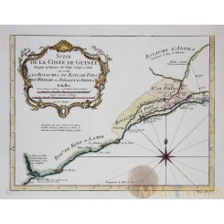 Guinea West Africa antique map Suite de la Coste by Bellin 1747