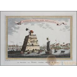 Fortresse de Tyen Tsing Wey Old print Beijing VOC voyages by Bellin 1758