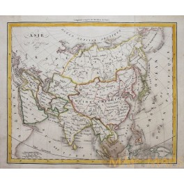 Antique map Asia Japan Korea China India Dufour 1828