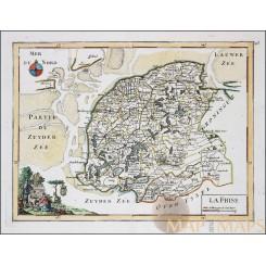 FRIESLAND HOLLAND NETHERLANDS ANTIQUE MAP LA FRISE LE ROUGE 1748