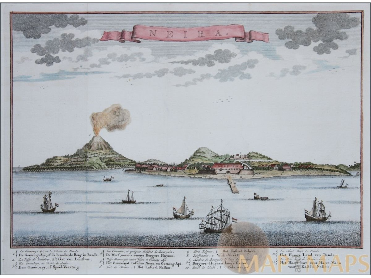 Lukisan tua Belanda yang menggambarkan Gunung Api dan Banda tahun 1754 | mapandmaps