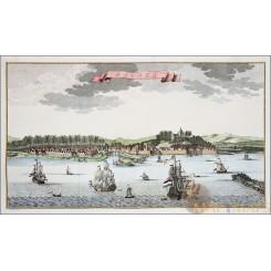 Dutch Malacca Malaysia Old map VOC ships Malaka Bellin 1754