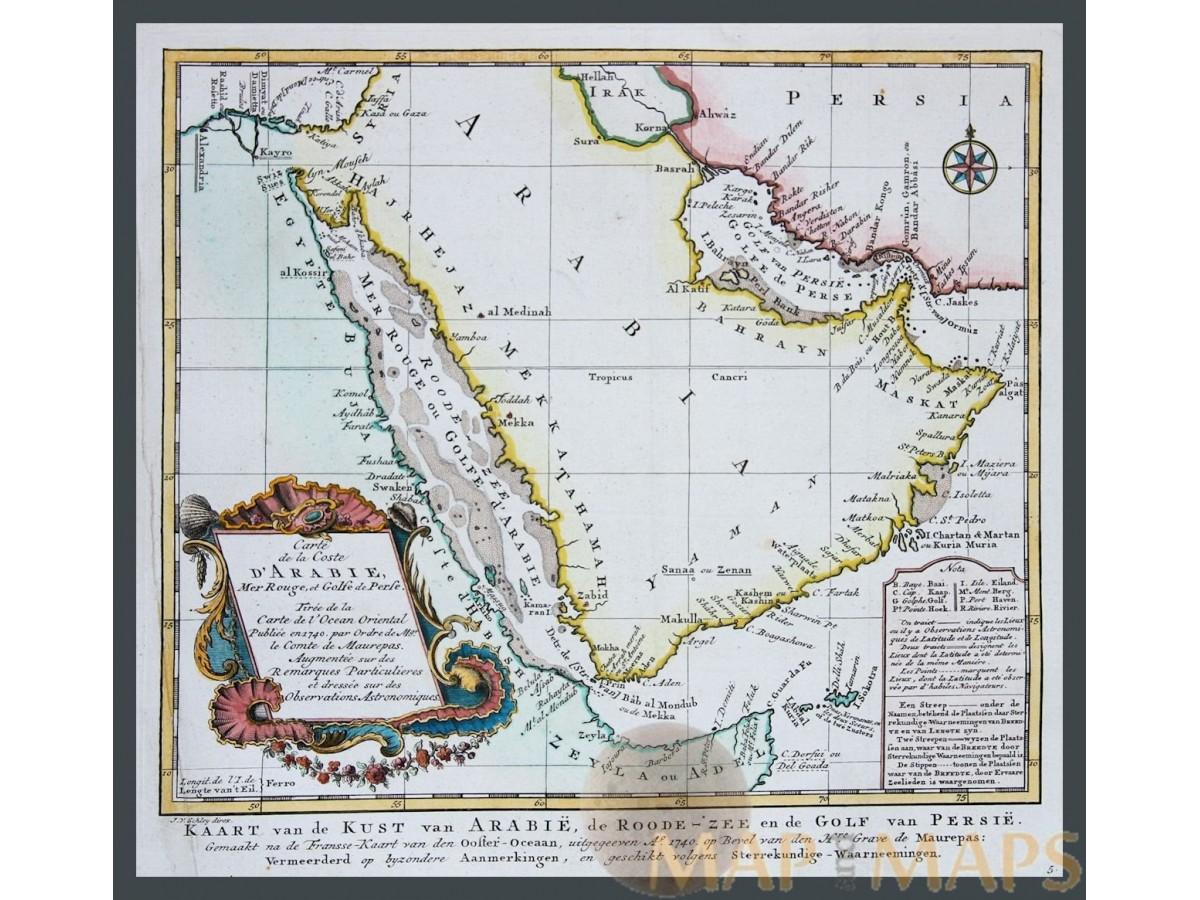Carte de la coste d\'Arabie - Arabian Peninsula - Bellin 1740