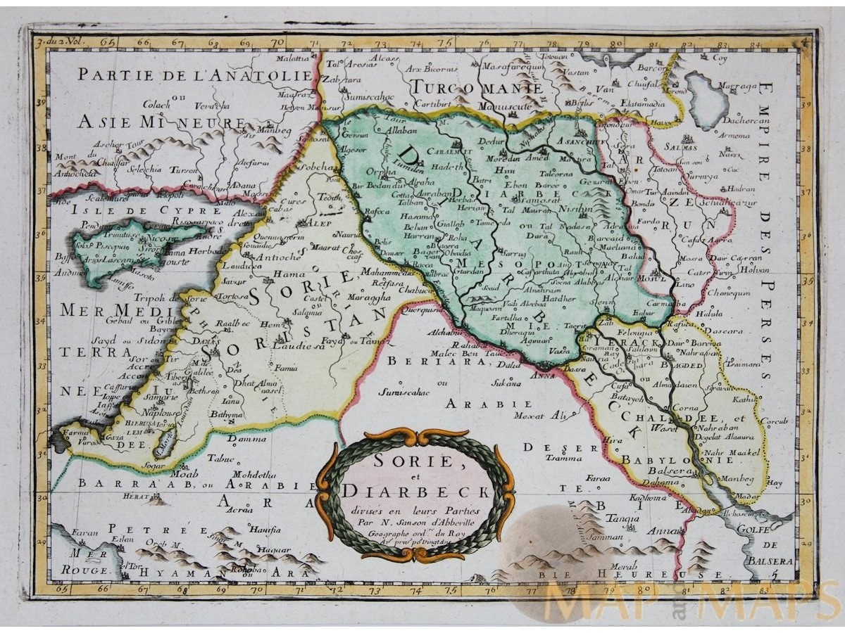 Sorie et diarbeck old map ancient near east sanson 1656 syria iraq old borders antique map sorie et diarbeck by sanson 1656 loading zoom gumiabroncs Gallery