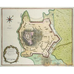 SLAVE FORT CAYENNE IN FRENCH GUYANA ANTIQUE MAP LA VILLE DE CAYENNE BELLIN 1753