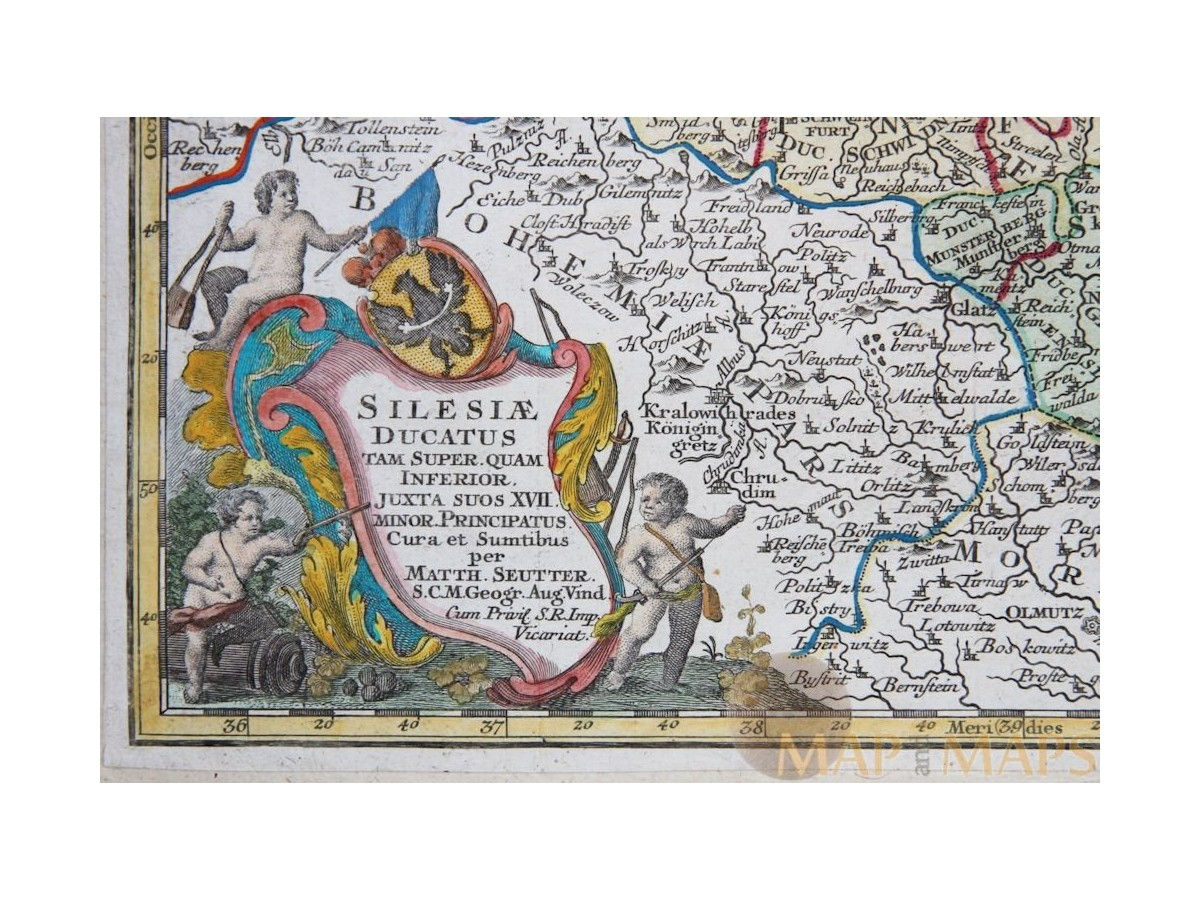 Silesiae Ducatus antique map Silesia by Seutter 1744 | M&MSilesia Map Europe