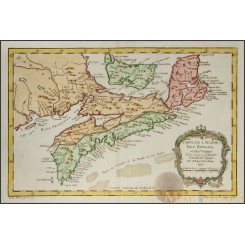 Carte De L'acadie Isle Royale Old Map Canada Bellin 1757