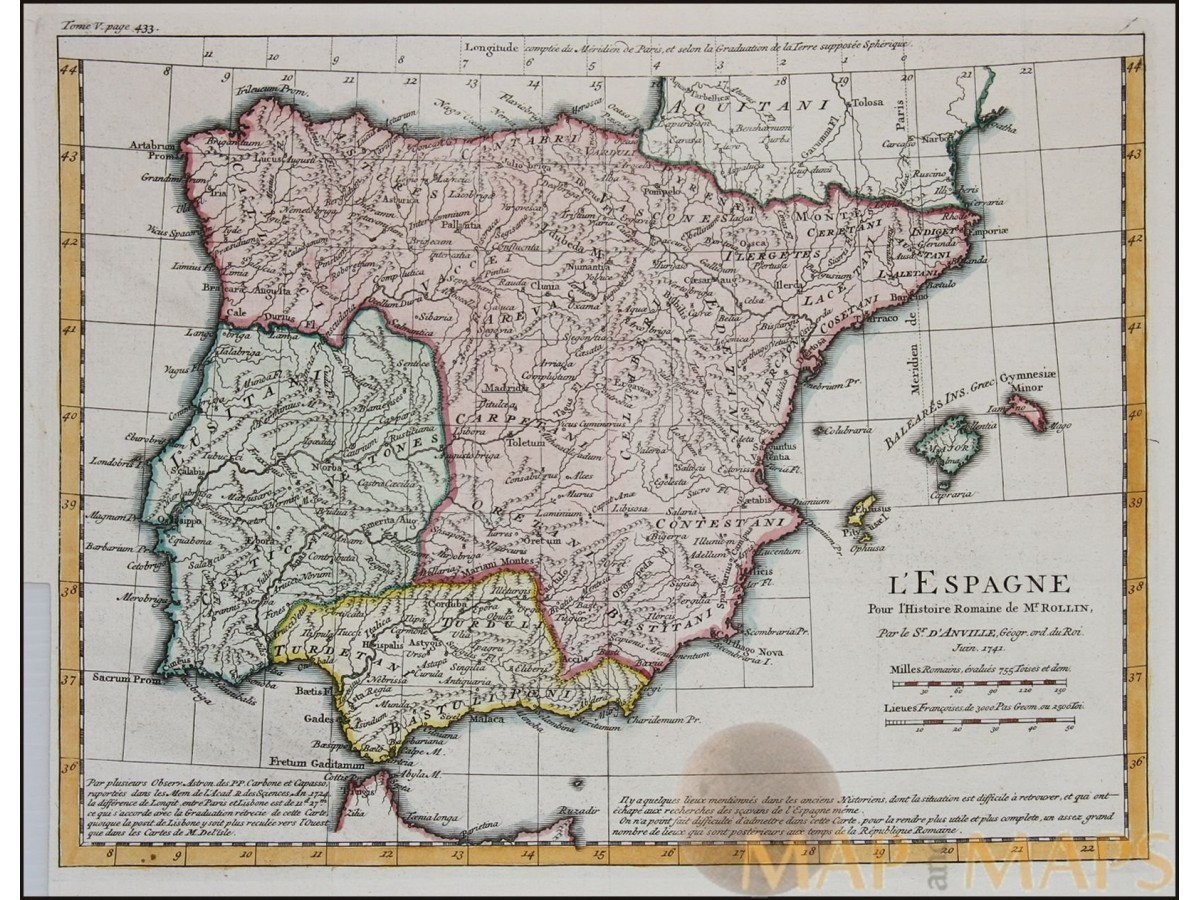 Spain Portugal Old Map LEspagne Rollin Anville MM - Portugal map longitude
