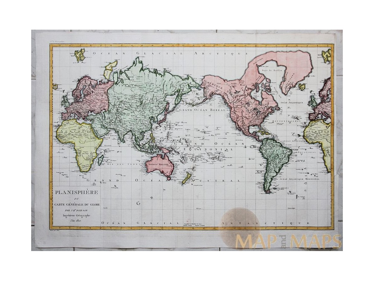 World old map planisphere ou carte generale poirson mm world atlas map antique map planisphere ou carte generale du globe poirson 1810 loading zoom gumiabroncs Image collections