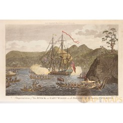 Attack on Capt. Wallis in the Dolphin Otaheite Anson 1784