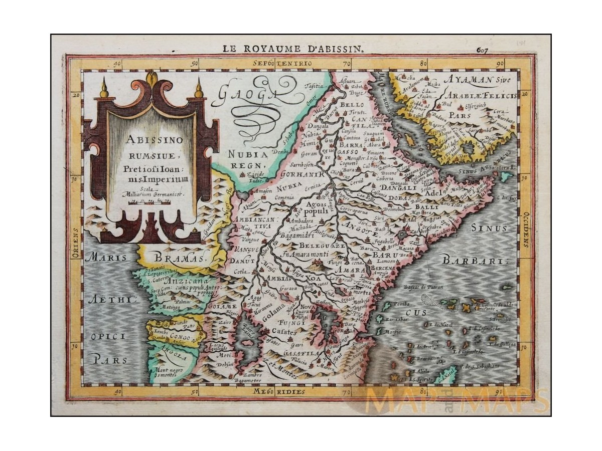 Abissino Rumsiue Old map Africa Ethiopian Empire Mercator ...