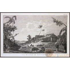 TONGO ISLE ROTTERDAM-VOYAGE JAMES COOK, OLD ENGRAVING, CAPTAIN COOK 1780