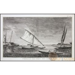 PIROGUES DES ISLES DES AMIS, POLYNESIAN, COOK'S VOYAGE, OLD ENGRAVING COOK 1780