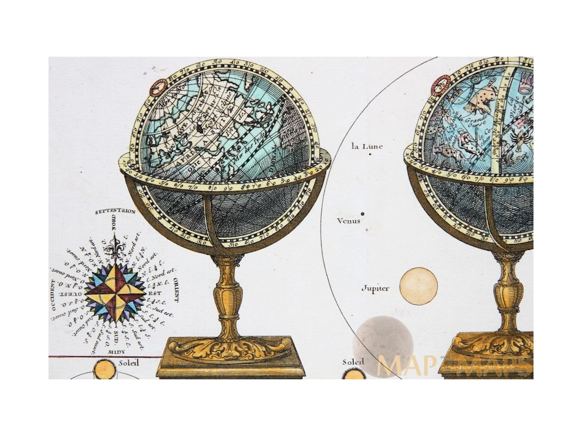 globe celestre globe terrestre old antique map le rouge. Black Bedroom Furniture Sets. Home Design Ideas