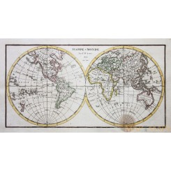 Antique Double-hemisphere World Map Mappe - Monde by Aynès 1813.