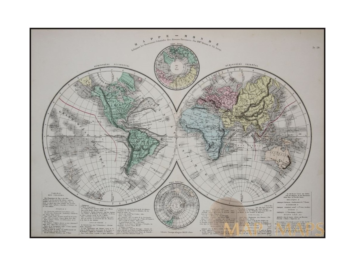 Mappe monde world map north pole and antarctica eugene belin 1890 mappe monde world map north pole and antarctica eugene belin 1890 loading zoom gumiabroncs Choice Image