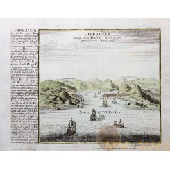 Old Engraving Port Gibraltar Spain Bodenehr 1720.